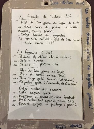 Restaurant Le Tatoon Ile de Sein Bretagne Finistère carte menu